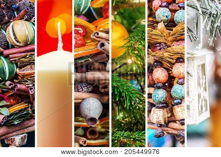 mixture of different Christmas theme vertical shaped pictures with white vertical stripes multicolor Christmas theme