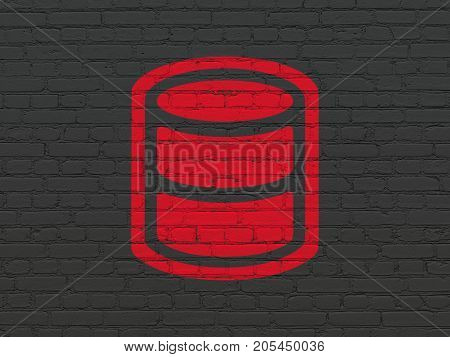 Database concept: Painted red Database icon on Black Brick wall background