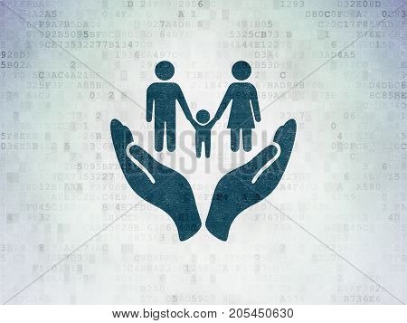 Insurance concept: Painted blue Family And Palm icon on Digital Data Paper background