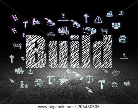 Constructing concept: Glowing text Build,  Hand Drawn Building Icons in grunge dark room with Dirty Floor, black background