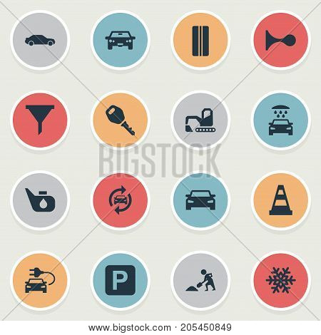 Elements Grease, Filter, Wheel And Other Synonyms Worker, Digger And Bulldozer.  Vector Illustration Set Of Simple Car Icons.