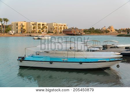 Pier In The City Of El Gouna. Boats At The Pier