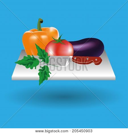 Vector image. Frame of vegetables, a cutting Board, a knife. Colorful set. ECO-organic fresh pattern with vegetables to decorate the menu