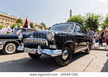 Restored And Painted In Shiny Metallic Black Volga Gaz-21 At The Exhibition Of Vintage Cars