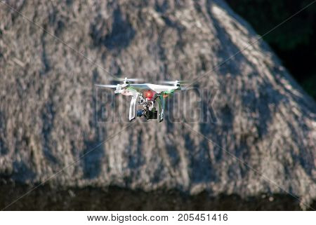Kiev,Ukraine, May 22, 2014: RC helicopter (multicopter) with a camera in-flight