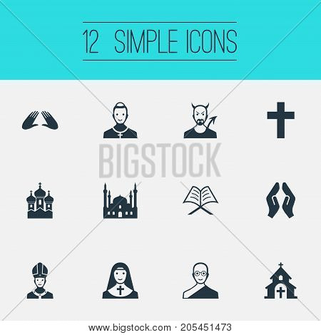 Elements Pontiff, Christian, Devil And Other Synonyms Demon, Mosque And Pope.  Vector Illustration Set Of Simple Religion Icons.