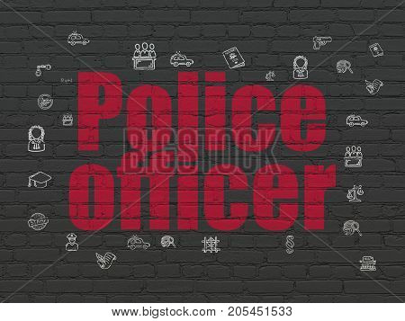 Law concept: Painted red text Police Officer on Black Brick wall background with  Hand Drawn Law Icons
