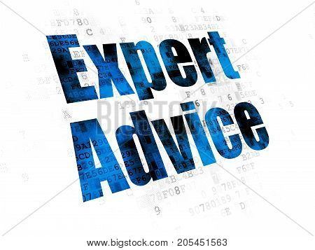 Law concept: Pixelated blue text Expert Advice on Digital background