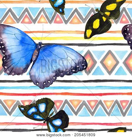 Geometric pattern with butterflies. Repeating pattern with decorative ornamental design. Watercolor