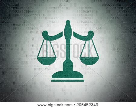 Law concept: Painted green Scales icon on Digital Data Paper background