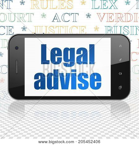 Law concept: Smartphone with  blue text Legal Advise on display,  Tag Cloud background, 3D rendering