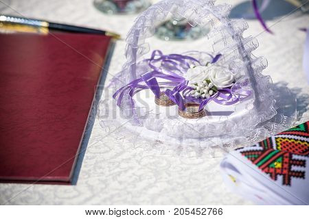 Wedding Rings On A Pad, Ready For The Ceremony