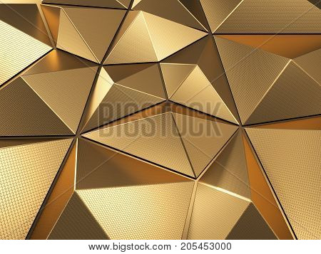 Luxury Polygonal Metal Shape with Lovely Reflections 3D Illustration