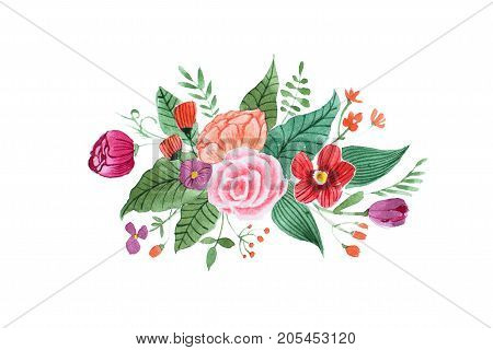Aquarelle drawing of pretty little bouquet made of various red, purple and pink flowers and leaves isolated on white background.