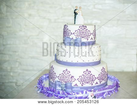 Beautiful Wedding Cake, Close Up Of Cake And Blur Background, Selective Focus
