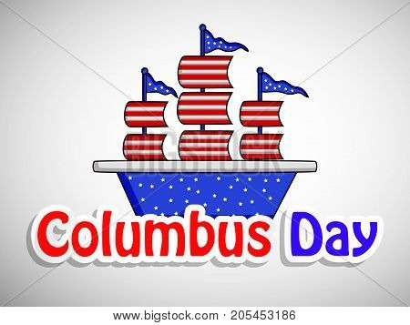 illustration of a ship with Columbus Day text on the occasion of Columbus Day