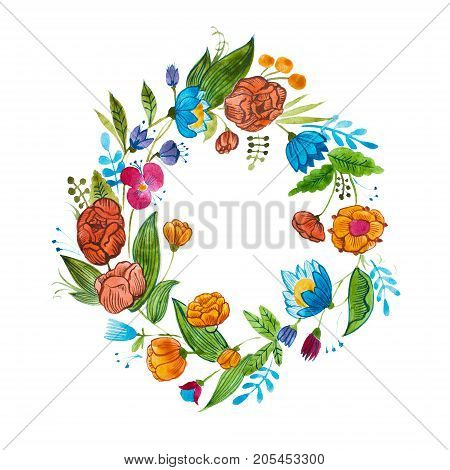 Aquarelle floral composition for card design or decoration element. Isolated hand drawn watercolor wreath composed of bright flowers and leaves.