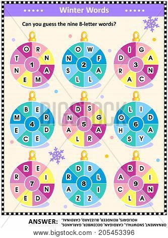 Christmas or New Year word puzzle (English language) with winter and holiday words written around the ornaments: Can you guess the nine 8-letter words? Answer included.