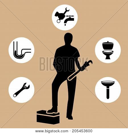 Plumbing tools sticker collection of plumber tools and pipes design elements vector illustration