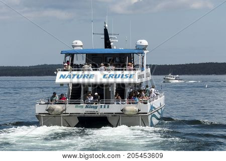 Bar Harbor Maine USA - 28 July 2017: The Bay King III catamaran of the Bar Harbor Whale Watch Company leaving the docks with passengers on a whale watching nature tour.