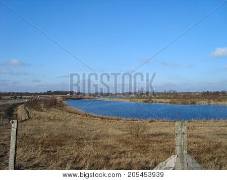 Lake on the Danish countryside on a sunny day
