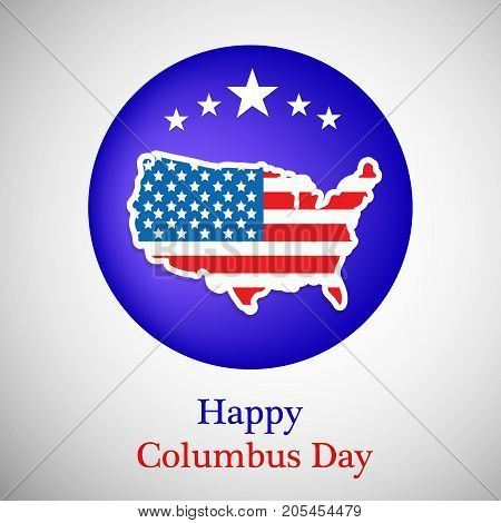 illustration of US map in US flag background and stars with Happy Columbus Day text on the occasion of Columbus Day