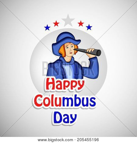 illustration of a man and stars with Happy Columbus Day text on the occasion of Columbus Day