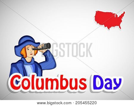 illustration of a man and US map with Columbus Day text on the occasion of Columbus Day