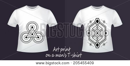 Creative collection of clothes with prints. Two white T-shirts - close-up with geometry, abstraction