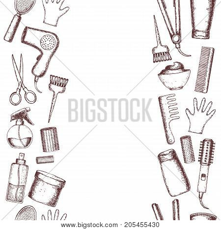 Seamless vertical borders of sketch equipments for styling and hair care. Products and tools for home remedies of hair care. Vector