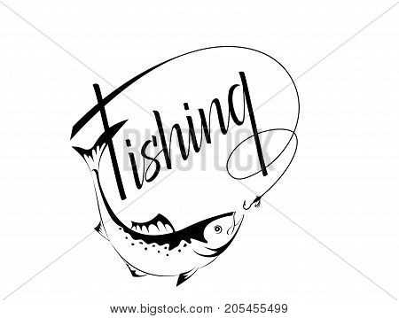 contour-style fishing logo for signage and advertising