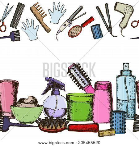 Seamless horizontal borders of colorful sketch equipments for styling and hair care. Products and tools for home remedies of hair care. Vector