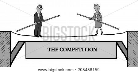 Business cartoon illustration of two business people walking a tightrope, 'the competition'.