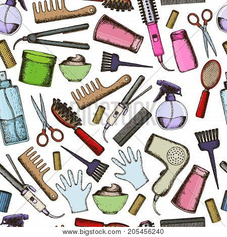Seamless background of colorful sketch equipments for styling and hair care. Products and tools for home remedies of hair care. Vector