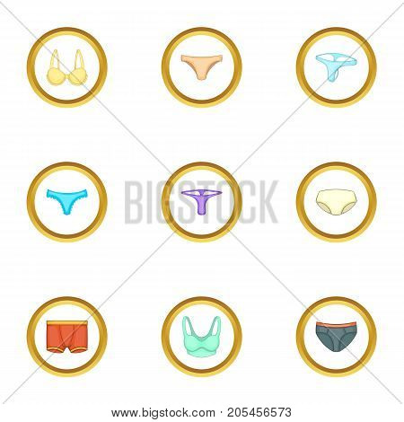 Underclothes icons set. Cartoon style set of 9 underclothes vector icons for web design