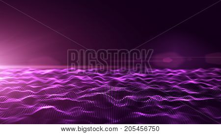 Abstract purple digital waves background with light flare