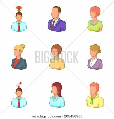 Personage icons set. Cartoon set of 9 personage vector icons for web isolated on white background