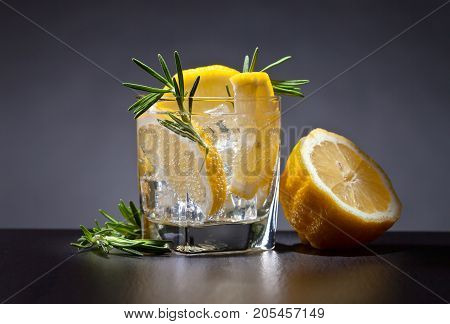 Cocktail With Tonic, Lemon And Rosemary