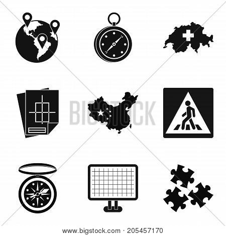 Itinerary icons set. Simple set of 9 itinerary vector icons for web isolated on white background