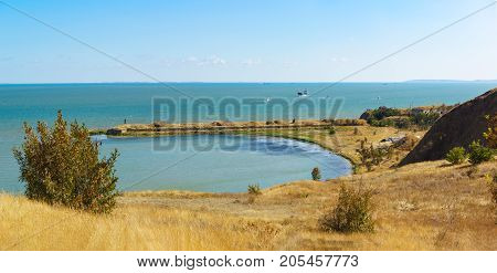 View Paul Bay in the Kerch Strait and built in 1865 on the artificial basis of the marine battery No. 1. Coastal fortifications of Kerch