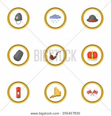British culture icons set. Cartoon style set of 9 british culture vector icons for web design