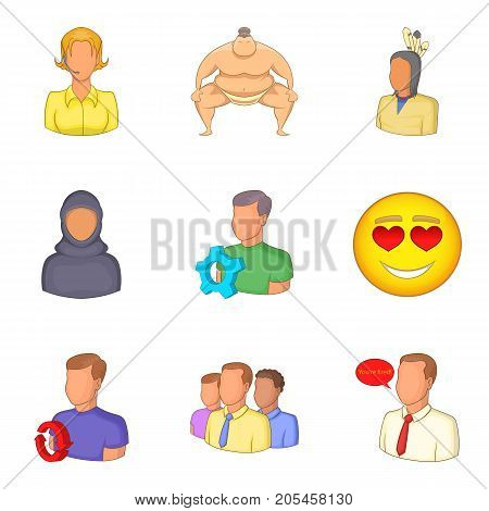 Person icons set. Cartoon set of 9 person vector icons for web isolated on white background