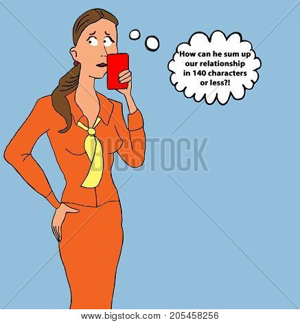 Relationship cartoon of a woman looking at her cell phone.  Her partner texted her a summary of their relationship in less than 140 characters.
