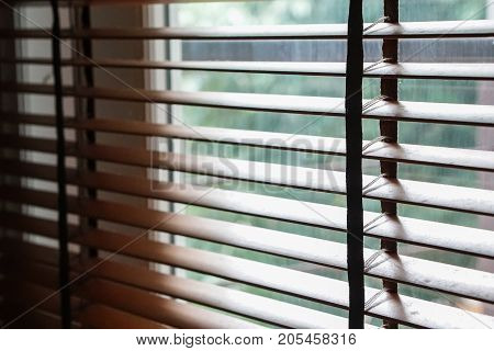 the wood blind shade curtain and shadow