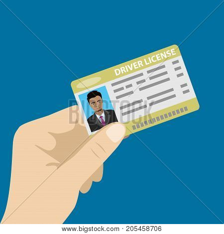 Hand holding driver license with male photo, isolated on blue background, cartoon vector illustration