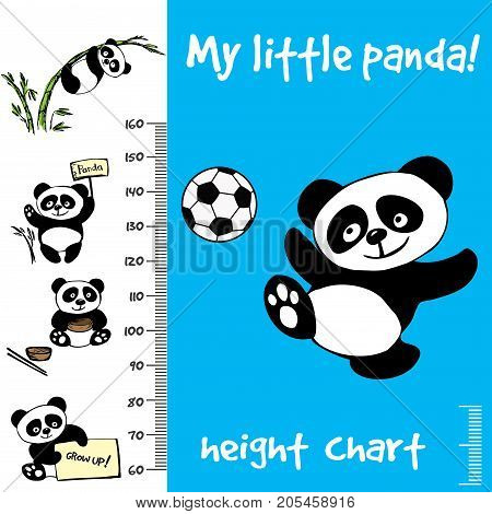 Kids height chart.Hand drawn panda, funny vector illustration