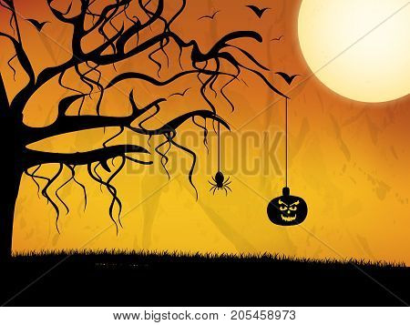 illustration of tree, moon and hanging pumpkin on the occasion of Halloween