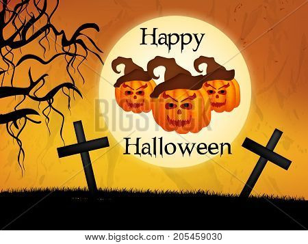 illustration of pumpkin faces, cross, moon and tree with happy Halloween text on the occasion of Halloween