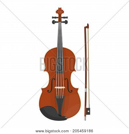 illustration of violin on white background. Musical instruments topic.