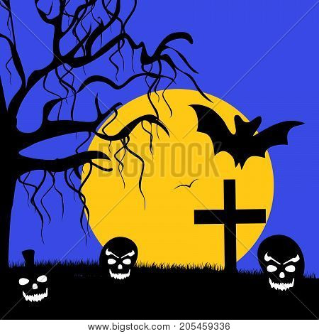 illustration of tree, bat, moon, cross and pumpkin face on the occasion of Halloween